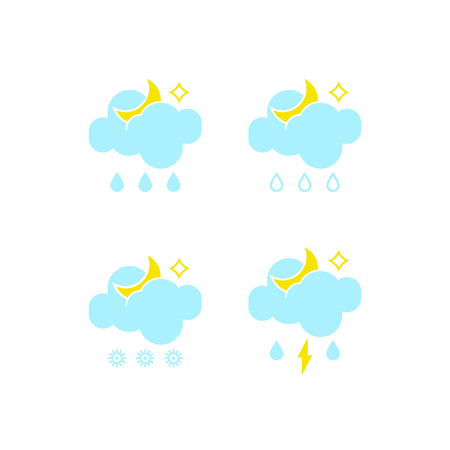 Basic set of essential weather fall-out icons in vector to show the forecast and the rainy climate outside during the nighttime for applications, widgets, and other meteorological designs. 向量圖像