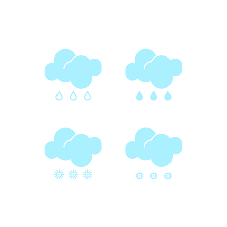 Basic set of essential weather fall-out icons in vector to show the forecast and the current climate outside during the daytime for applications, widgets, and other meteorological designs.