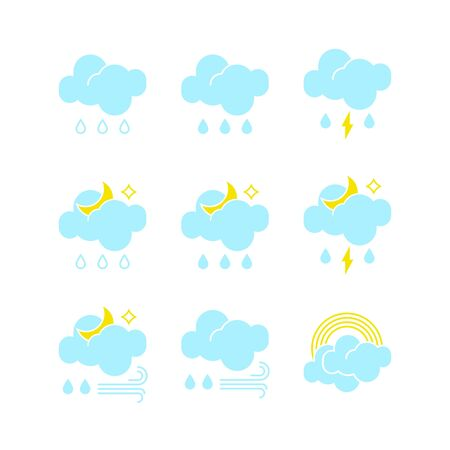 Set of rainy weather icons in vector to show the forecast and the current climate outside during the day and night time  for applications, widgets, and other meteorological designs. Illustration