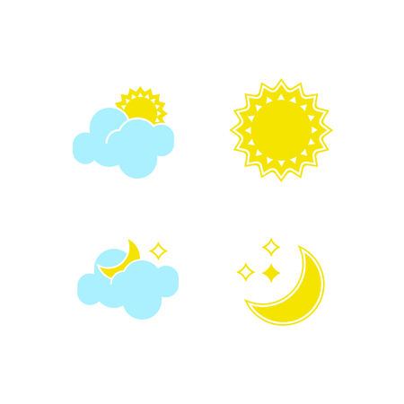 Basic set of essential weather icons in vector to show forecast and the clear and cloudy climate outside during the day and the nighttime for applications, widgets, and other meteorological designs.