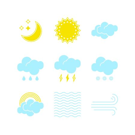 Small set of essential weather icons in vector to show the forecast and the current climate outside during the day and night time for applications, widgets, and other meteorological designs.