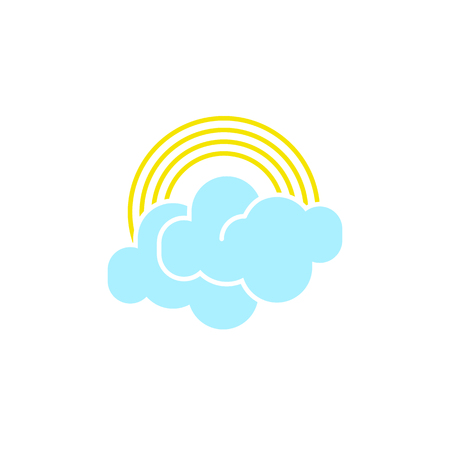 Vector weather icon of a blue cloud with rainbow to show the rainy forecast and the current climate outside for applications, widgets, and other meteorological designs.