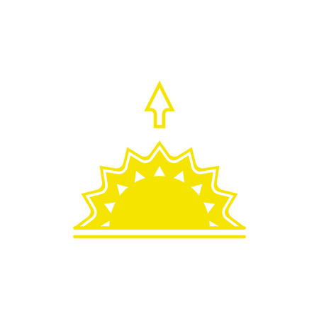 Vector weather icon of sun with arrow up to show the sunrise and the current climate outside for applications, widgets, and other meteorological designs.