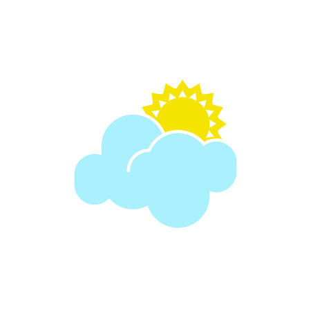 Vector weather icon of a blue cloud with sun to show the forecast and the current climate outside during the day time for applications, widgets, and other meteorological designs.