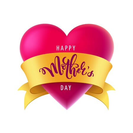 Vector illustration for mothers day celebration with handwritten lettering,  big red heart and golden ribbon. Illustration with words happy mother's day for banners, greeting cards, posters and gifts 向量圖像