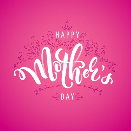 Square vector illustration for mothers day celebration with handwritten  lettering and plants. Illustration with text happy mother's day for banners, greeting cards, posters and gifts