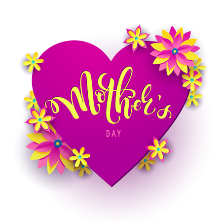 Square vector illustration for mothers day celebration with handwritten lettering, pink heart and yellow flowers. Illustration with text mother's day for banners, greeting cards, posters and gifts 向量圖像