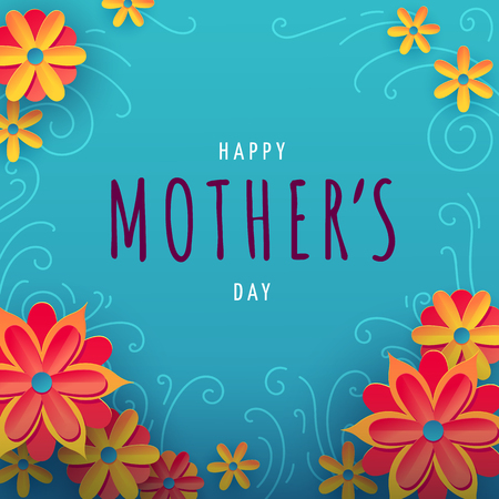 Square vector illustration for mothers day with typography, colorful flowers and floral ornament on background. Illustration with words happy mothers day for banners, greeting cards, posters and gift 向量圖像