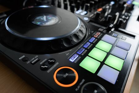 Professional concert dj turntables player device with sound mixer panel