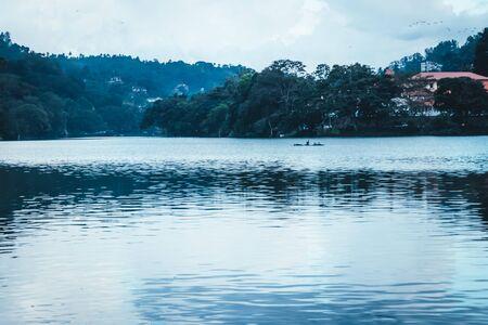 sunset with lake kandy sri lanka twilight