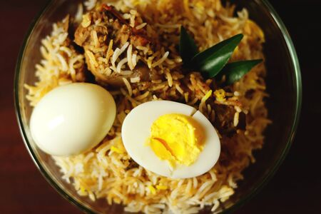 Delicious chicken biriyani zoom in Stock Photo