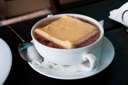 Homemade fresh creamy soup with chicken closeup
