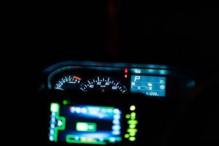 Modern car illuminated dashboard closeup Stock Photo