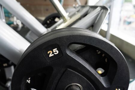 weight in gym room, close up horizontal photo
