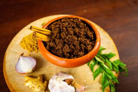 Spicy Maldives fish dish - (dried fish sambol/sambal) with leafy green water spinach (Kankun )stir fries. Asian food kitchen.