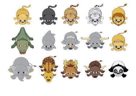illustration zoo: Cartoon illustrazione animali dello zoo