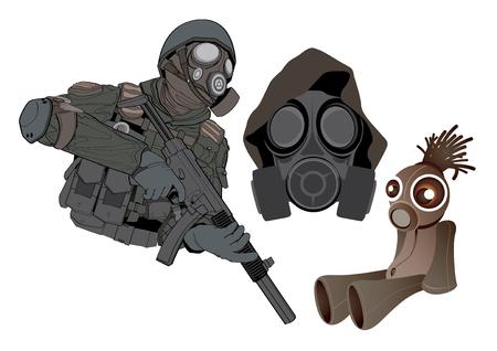 army gas mask: ilustraci�n de dibujos animados gr�fico soldado de juguete