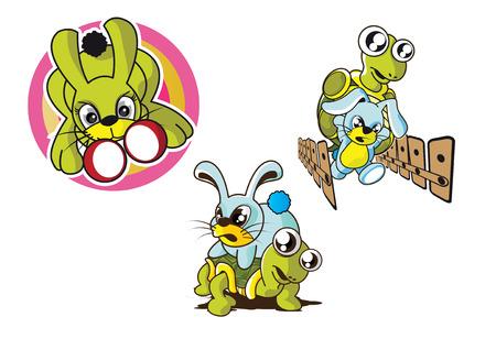 punch: vector illustration graphic cartoon Rabbit Turtle race punch Boxing Illustration