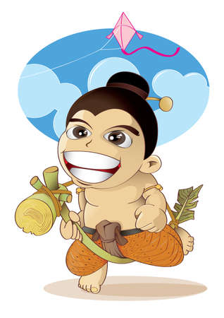 provincial: vector illustration graphic cartoon culture boy Thai Thailand Play local regional provincial baby The palace olden ancient