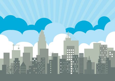 vector  illustration city background   building  sky  community  congested  Graphic  metropolis