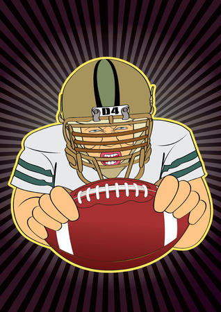 quarterback: vector illustration Graphic  cartoon  quarterback  Super Bowl blocking back American Football
