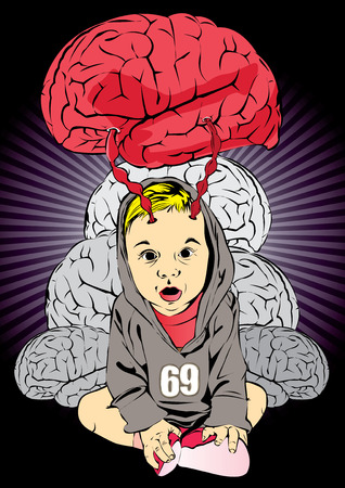 suck: vector  illustration cartoon child baby babe pump  drain  suck  brain intelligence  pate head