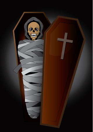 ashes: vector illustration Graphic  cartoon ghost  Hallo ween horror skeleton casket ashes body corpse bone Skull