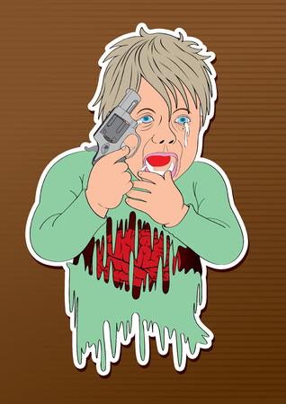 vector illustration cartoon child babe  gun Commit suicide act boy  discharge