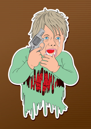 act: vector illustration cartoon child babe  gun Commit suicide act boy  discharge