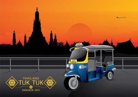 tuk tuk: vector illustration  background sky Tuk Tuk  Thailand Bangkok twilight Illustration