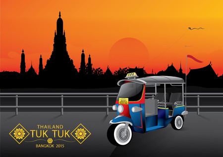 thailand temple: vector illustration  background sky Tuk Tuk  Thailand Bangkok twilight Illustration