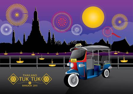 tuk: vector illustration  background sky Tuk Tuk  Thailand Bangkok night season fireworks