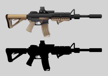 shooter: vector illustration Graphic gun shooter  weapon barrel arms Illustration