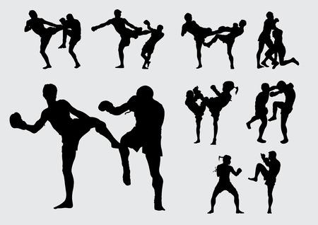 patada: ilustración vectorial Fondo de Muay Thai de Tailandia patada pelea de boxeo Vectores