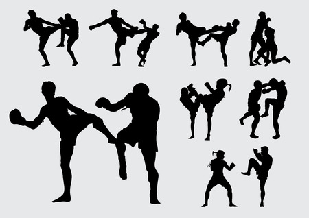 vector  illustration  background Muay Thai Thailand kick fight boxing Illustration