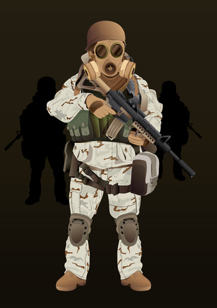militia: vector  illustration  Soldier military equipment militia