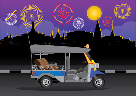 monasteries: vector illustration  background sky Tuk Tuk  Thailand Bangkok night season fireworks