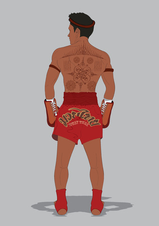 thai boxing: vector  illustration Muay Thai Thai Boxing Tattoo Thailand