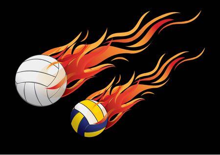 voleibol: ilustración vectorial deporte fuego voleibol