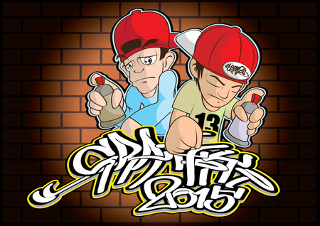 hiphop: vector  illustration  Graphic cartoon Graffiti  Hip hop