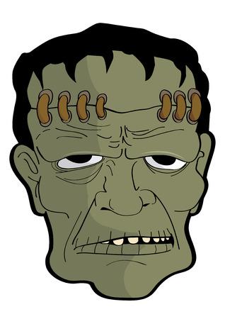 vector  illustration  Graphic cartoon Ghost Halloween mask Frankenstein Illustration