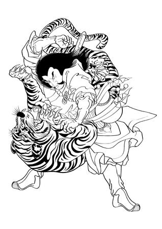 Illustration vectorielle Tattoo graphique de style japonais Japon Tiger Banque d'images - 47701252