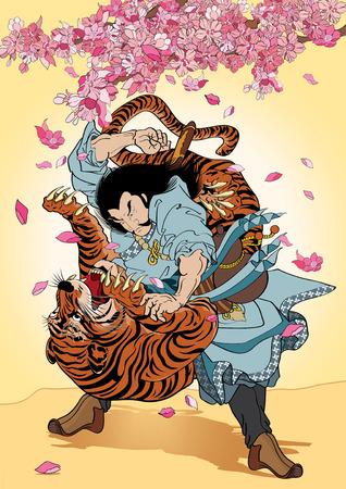 Samuraî: illustration vectorielle Graphique Tattoo style japonais Japon fleur Samurai Tiger