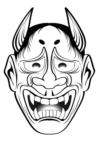 japanese style: vector illustration  Graphic Tattoo Japanese Style Japan kabuki Mask Illustration