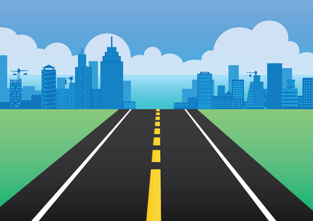 highroad: vector  illustration  Graphic  road way passage street background Sky sea