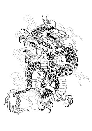 capricornio: Ilustración gráfica del vector del tatuaje del estilo japonés del dragón Capricornio