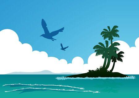 sea sky: vector  illustration graphic background sea sky day