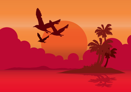 twilight: vector  illustration graphic background sea sky Twilight Bird