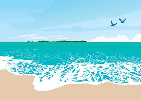 vector  illustration graphic background sea sky day