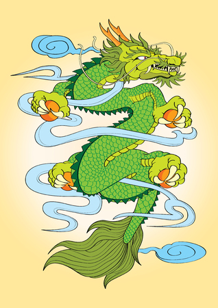 vector  illustration  Graphic  Tattoo Japanese Style Dragon Capricorn Ilustração